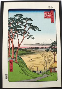 Sale 9098 - Lot 283 - Hiroshige marked Japanese woodblock print Grandpas Teahouse in Meguro from the 100 views of Edo (40cm x 26cm)