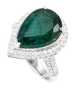 Sale 9123J - Lot 195 - AN 18CT WHITE GOLD EMERALD AND DIAMOND DRESS RING; centring on a pear cut emerald of approx. 5.5ct (few minor chips) to surround and...