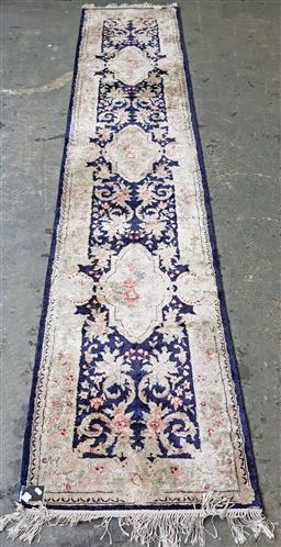 Sale 9151 - Lot 1278 - Blue and cream tone Chinese Tabriz runner (370 x 76cm)