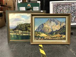 Sale 9163 - Lot 2054 - A pair of oil paintings depicting country NSW by unknown artists, frame: 43 x 55 cm, 46  x57 cm, signed