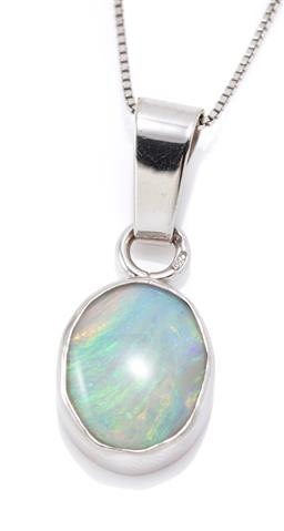 Sale 9177 - Lot 329 - AN 18CT WHITE GOLD OPAL PENDANT; collet set with an oval cabochon solid crystal opal (11.7 x 9.6 x 3.4mm) with violet through to yel...