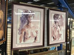 Sale 9172 - Lot 2055 - Sidney Fort (two works) Nudes in Pose watercolour, frame: 67 x 47 cm each, each signed lower right