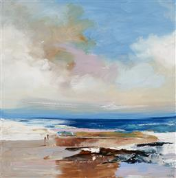 Sale 9187JM - Lot 5040 - CHERYL CUSICK Somewhere Along the Coast acrylic on canvas 100 x 100 cm signed lower right, titled verso