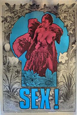 Sale 9244A - Lot 5031 - MARTIN SHARP (1942 - 2013) Sex (King Kong, 1967) offset lithograph in black, blue and pink over a silver metallic heavy base and lam...