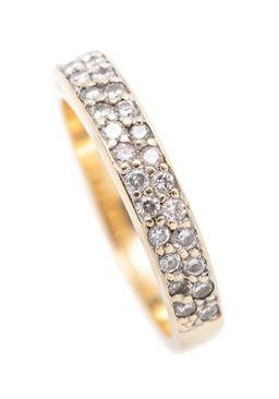Sale 9260H - Lot 309 - An 18ct gold half hoop diamond ring; pave set with 32 mixed single and round brilliant cut diamonds, width 4mm, size O, wt. 5.08g.
