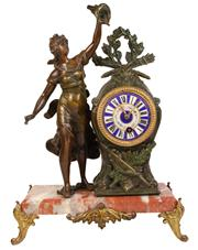 Sale 7978 - Lot 66 - Bronze, Spelter & Marble Figural Clock