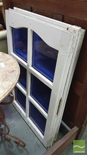 Sale 8299 - Lot 1058 - Pair of Timber Framed Windows with Blue Glass
