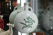 Sale 8348 - Lot 66 - Double Handled Moon Flask with Dragons Design - Height 33cm