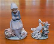 Sale 8368A - Lot 45 - A Lladro figure of a girl with duck and ducklings, H 21 cm, together with another goose figural group