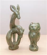 Sale 8375A - Lot 31 - A signed Verdite sculpture of a dear and fawn, C Danda, in contemporary style, H 32cm, together with an owl signed Midofa
