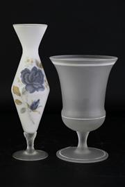 Sale 8972M - Lot 690 - Frosted glass bud vase with floral decoration (H25.5cm) together with a frost glass goblet vase (H19.5cm)