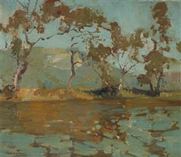 Sale 9125 - Lot 533 - Sydney Long (1871 - 1955) Untitled (River Reflections), 1936 oil on panel 33.5 x 39 cm (frame: 47 x 53 x 4 cm) signed and dated lowe...