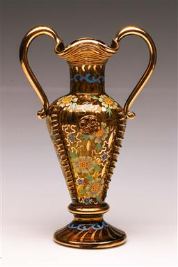 Sale 9104 - Lot 97 - A Twin Handle Amber Glass Vase with Handpainted Floral Decoration (H 28cm)