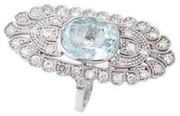 Sale 9124 - Lot 423 - A DECO INSPIRED AQUAMARINE AND DIAMOND COCKTAIL RING; centring an oval cut pale aquamarine of approx. 5.70ct to large pierced oval 1...
