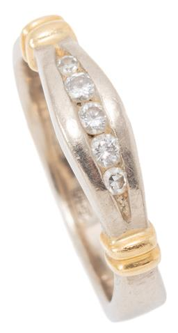 Sale 9149 - Lot 501 - A RUSSIAN 18CT WHITE GOLD DIAMOND RING; centring a row of 3 round brilliant and 2 single cut diamonds with applied gold sleeves on e...