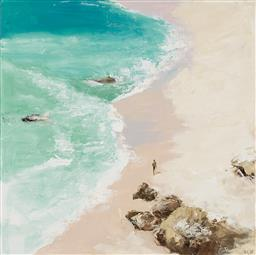 Sale 9187JM - Lot 5005 - CHERYL CUSICK Beach Aerial acrylic on canvas 100 x 100 cm signed lower right, titled verso