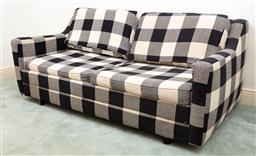 Sale 9190H - Lot 389 - A gingham upholstered sofa bed in black and grey, Height of back 70cm x Length 158cm x Depth 90cm