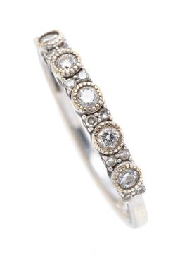 Sale 9260H - Lot 356 - A 9ct gold quarter hoop diamond ring; set across the top with 5 round brilliant cut diamonds between pairs of single cut diamonds, r...