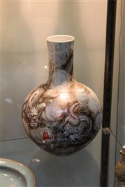 Sale 8273 - Lot 36 - Grisaille & Iron Red Dragon Globular Vase