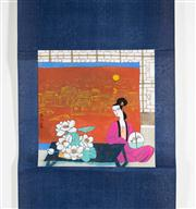 Sale 8435A - Lot 87 - A contemporary Chinese scroll of woman seated by table with lotus flowers, image size 25 x 24cm, signed and sealed centre left