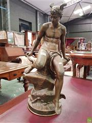 Sale 8559 - Lot 1008 - Antique Spelter Figure of Mercury After Boure, seated on a rock adjusting his wing. Height: 58 cm