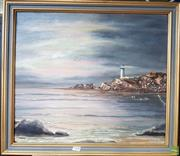 Sale 8587 - Lot 2100 - D Clarke - Lighthouse, NSW, oil on canvas board, frame size; 54 x 61cm, signed lower right