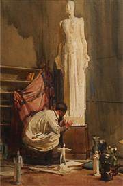 Sale 8606 - Lot 580 - Charles Auty (1858 - 1936) - Sculptors Studio, 1896 43 x 29cm