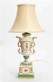 Sale 8620A - Lot 96 - A vintage continental hard paste porcelain lamp, the gilt and floral decorated double handle urn raised on a complimentary gilt and...
