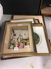 Sale 8759 - Lot 2453 - Set of 5 Prints and 1 Framed Hand Embroidery