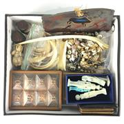 Sale 8758 - Lot 330 - Assortment of Curiosities including Bone, Shell, Horn & Leather