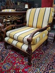 Sale 8774 - Lot 1075 - Pair of Unusual Oversized Oak Armchairs, with ladder backs having loose yellow & white striped cushions, leather covered arms & on s...