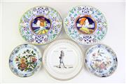 Sale 8844O - Lot 583 - A Pair of Small Delft Plates Together with 2 Handpainted Examples and a Copenhagen Example