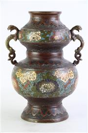 Sale 8855D - Lot 665 - Chinese Champeve Vase with dragon handles (H26.5cm)