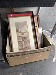 Sale 8878 - Lot 2062 - Box of Assorted Artworks incl. paintings, original works on paper, engravings, chinese watercolours etc. -