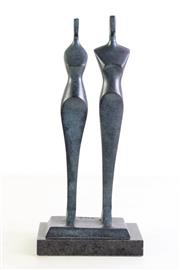 Sale 8963 - Lot 14 - Modernistic figural group of a couple, marked KUS to base, H31.5cm