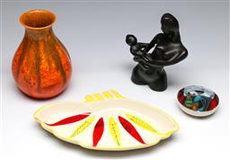 Sale 9148 - Lot 33 - Small collection opf studio pottery inc Vase (H 16cm) Figural Group (H 15cm) and others