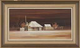 Sale 9180A - Lot 5083 - STUART MACKENZIE CULLEN (1933 - ) Country House on Tenebrous Eve oil on board 29 x 55.5 cm (45 x 76 x 3 cm) signed lower right