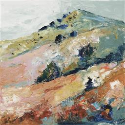 Sale 9180A - Lot 5024 - CHERYL CUSICK Hill Country acrylic on canvas 100 x 100 cm signed lower left, titled verso
