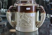 Sale 7989 - Lot 55 - Stone Ware Loving Cup with 3 Greyhound Handles