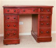 Sale 8250 - Lot 5 - A Early Victorian Mahogany Twin Pedestal  Desk , c 1840, the rectangular top, leading to the apron fitted with three short  drawers,...