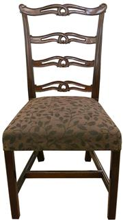 Sale 8258A - Lot 25 - Set of ten Chippendale style ladder back dining chairs including two carvers, solid mahogany, good quality chairs,   $350 each