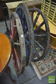 Sale 8299 - Lot 1068 - Three Large Timber Wagon Wheels