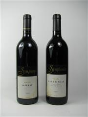 Sale 8398A - Lot 856 - 2x Symphonia Wines, King Valley - 1x 01 Las Triadas Tempranillo Cabernet Merlot, 1x 02 Saperavi - stained labels