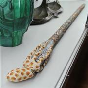 Sale 8379 - Lot 61 - Dot Painted Walking Stick Topped With Octopus Figure