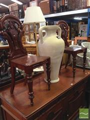 Sale 8406 - Lot 1087 - Pair of Carved Back Bedroom Chairs