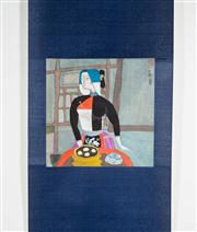Sale 8435A - Lot 91 - A contemporary Chinese scroll of woman eating dumplings, image size 25 x 24cm, signed and sealed upper right