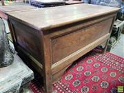 Sale 8559 - Lot 1088 - 19th Century French Oak Coffer, with hinged top, moulded edge panels & stile feet. Width: 129 cm