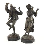 Sale 8545N - Lot 117 - Pair of Bronze Statues on Marble Bases (H:30cm)
