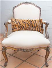 Sale 8550H - Lot 6 - A Louis XV style elbow chair with floral carved frame and champagne silk upholstery, H of back 96cm