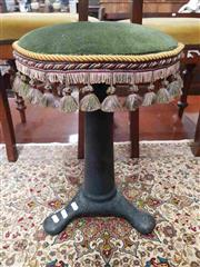 Sale 8917 - Lot 1063 - Late Victorian Singer Cast Iron Sewing Stool, with tasselled round green velvet top